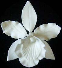 7.5cm DIA WHITE SUGAR FLOWER WIRED CYMBIDIUM ORCHID HEAD CAKE TOPPER DECORATION