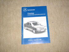 Mercedes 190er 124er SL E-/S-Klasse Preisliste price list von 01.09.1989, Nr. 55