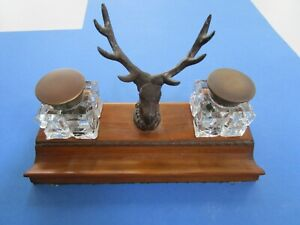 Vintage STAG HEAD Writing Set,  Double Ink Wells and Holder