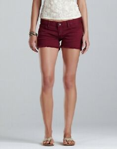 Lucky Brand Frayed Cuff Riley Colorful Denim Shorts Size 32/14 Tropical Berry