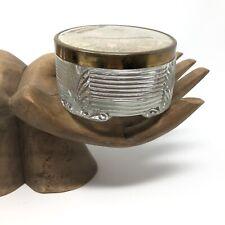 Vintage Vanity Art Deco Powder JAR Ribbed Glass Trinket Jewelry Box Gold
