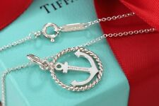 "NEW Tiffany & Co. Silver Twist Anchor Charm Pendant 18"" Necklace w/ Packaging"