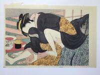 Japanese Woodblock Print 22.5×32cm Vtg Syunga Ukiyoe Woman Kimono Kanzashi L373