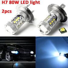 2pcs Ice Blue H7 8000K 2828 LED Bulbs 80W Low Beam Headlight DRL Fog Light HID