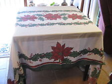 """Vintage Christmas Print Tablecloth White Cotton Red Poinsettia Border 58"""" x 86"""""""