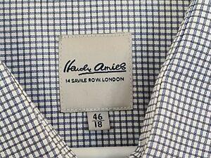 Hardy Amies Plus Size 46 Long Sleeve Mens Button Up Shirt White Blue Checks 18