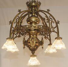Ancien Lustre Historicisme Um 1840 Plafond Led Gaz Lampe Laiton Laiton 5 Fl