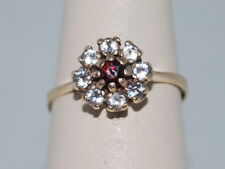 10k Gold ring with Garnet(January birthstone) and CZ diamonds