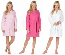 Ladies Kimono Wrap Waffle Cotton Summer Dressing Gown Hotel Spa Robe Knee Length