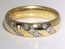 9CT 9KT YELLOW GOLD 0.1CT DIAMOND ETERNITY WEDDING 4.7mm  BAND RING L 1/2 4.7g