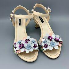 NIB $1380 DOLCE & GABBANA Hydrangea Leather Crystal Sandals EU 39 US 8.5