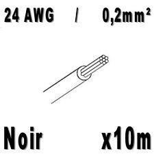 Fil de cablage 24AWG / 0,2mm² Noir 10m