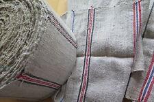 1900/Handgewebt gestreiftes Leinen Meterware Ballen / 295cm Tischläufer Handtuch