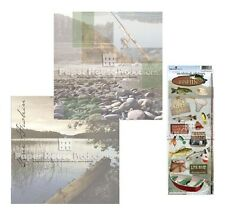 FISHING 12x12 Scrapbook Papers + Stickers Paper House Production Sports Guys
