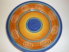 PIER ONE 1 IMPORT ITALIAN SWIRL SALAD PLATE DARK BLUE YELLOW HAND PAINTED