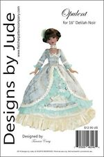 "Opulent Gown Doll Clothes Sewing Pattern for 16"" Delilah Noir Dolls Ashton Drake"