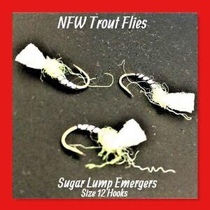 Quality Trout Flies - Qty 3 Sugar Lump Emergers - # 12 Hooks (New)