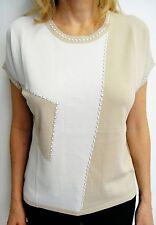 ALJSSA Designer TOP size XXL beige knit Made in Italy Retail:229$