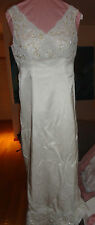 Dutch Satin Hand Beaded Professionally custom made Wedding Dress Sleeveless S/M