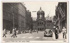 Liverpool; Town Hall & Castle St RP PPC, Unposted, By Photochrom, c 1950's
