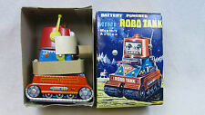 JAPAN VINTAGE SPACE TOY BATTERY POWERED MINI ROBO TANK TR2 ROBOT NOMURA 60s RARE