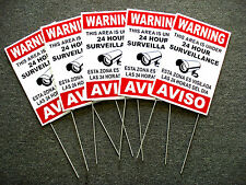 5 Security Video Surveillance Warning  24Hr  Signs 8x12 Spanish English w/Stakes