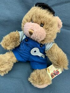 """Mike The Mechanic Teddy Bear Plush Soft Toy Sitting 8"""" Collectors Overalls"""