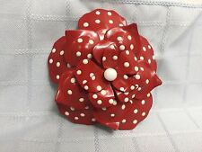 Joan Rivers Red Polka Dot Rose Pin Brooch