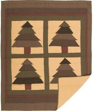 Sequoia Hanging Blanket Throw Hand Quilted Tree Patchwork Burgundy & Green Plaid