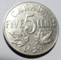 Coin - 1929 Canada 5 Cents - 5C - George V - Nickel                   Envelope 3