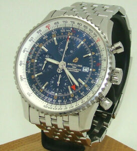 BREITLING 46mm MEN's NAVITIMER WORLD AUTOMATIC CHRONOGRAPH GMT WATCH A24322