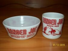 Vintage RANGER JOE Red & White HAZEL ATLAS Milk Glass MUG /Cup BOWL SET