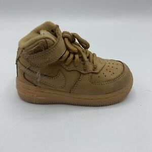 Nike Air Force 1 Mid 6C Flax Wheat Suede 2016 TD Toddler