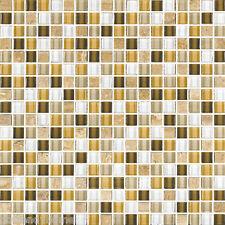 10SF- White Yellow Brown marble Stone Glass Mosaic Tile Kitchen Backsplash Spa