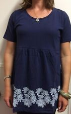 WOMANS LADIES TOP T SHIRT BLUE FLORAL LOOSE SUMMER SMOCK TOP SIZE 12 14 16 18