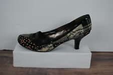 Steve Madden women's shoes Vyceroy black multi pumps Mary Jane Patent leather 8M