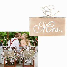 Mr And Mrs Burlap Wedding Banner Chair Flag Rustic Photography Sign Decoration