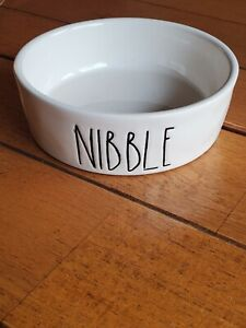 """RAE DUNN MAGENTA """" NIBBLE """" SMALL DOG/ CAT BOWL NEW"""
