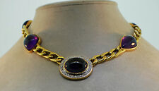 Necklace 14k Gold Amethyst Diamond Choker