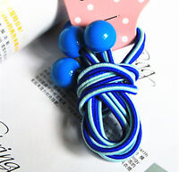 2PC Girl Kid Child School Blue Ponytail Hair bands Elastic tie with Balls Beads