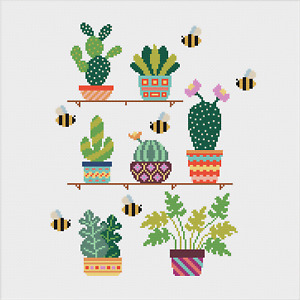 Cactus and Succulent Cross Stitch Pattern by Meloca Designs