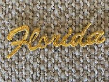 #3077 Gold Word FLORIDA Florida  Embroidery Iron On Applique Patch