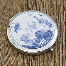 Portable Compact Ceramic Pocket Folding Makeup Round Hand Mirror Metal Chic Gift