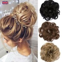 Real Natural Curly Messy Bun Scrunchie Fake Hair Extensions Hairpiece for Human