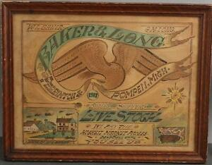 Antique 1917 Folk Art Watercolor Livestock Farm Sign Painting American Eagle