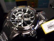 NEW Invicta Mens Speedway Viper SS/Black Carbon Fiber Bezel Black Strap Watch!!