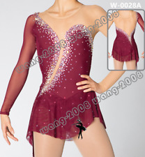 Adult Marvellous Ice Skating Figure skating Dress Gymnastics  Costume wine Red