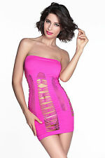 Micro Abito traforato retato Aperto Nudo fluo neon Hollow-out Dress Chemise