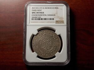 AH1331 1913 Morocco Rial large silver coin NGC UNC