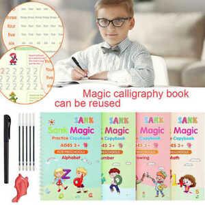 Magic Handwriting Copybook Set Reused Groove Practice Calligraphy Book for Kids